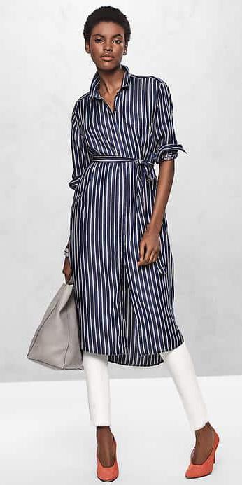 blue-navy-dress-white-skinny-jeans-layer-shirt-gray-bag-tote-orange-shoe-pumps-stripe-print-howtowear-fashion-style-outfit-spring-summer-gap-brun-work.jpg