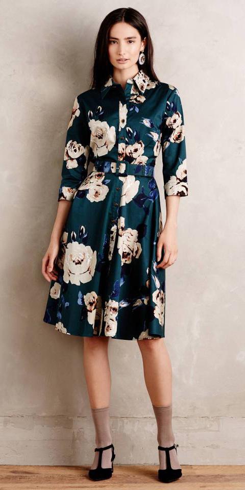 blue-navy-dress-shirt-aline-floral-print-brun-socks-black-shoe-pumps-fall-winter-dinner.jpeg