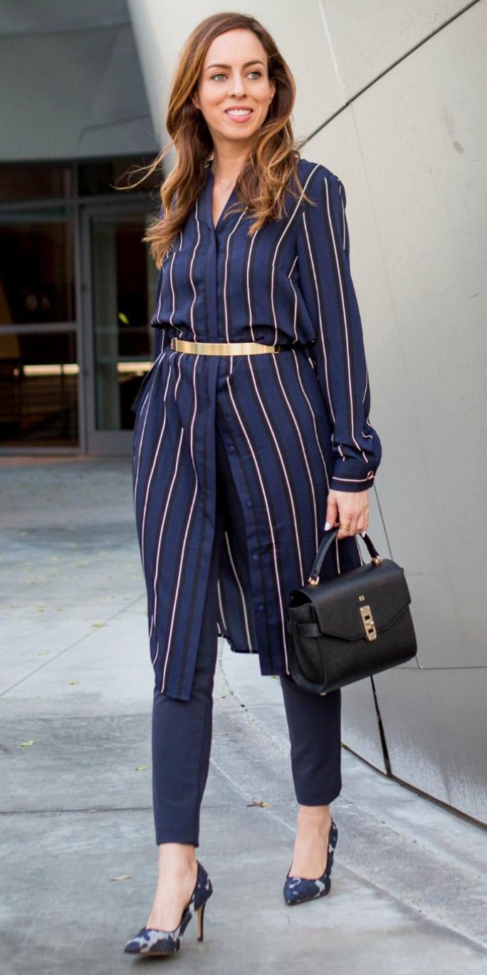 blue-navy-slim-pants-blue-navy-dress-shirt-layer-belt-hairr-black-bag-vertical-stripe-blue-shoe-pumps-mono-fall-winter-work.jpg