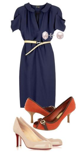 blue-navy-dress-orange-shoe-pumps-skinny-belt-pearl-studs-shirt-howtowear-fashion-style-outfit-spring-summer-work.jpg