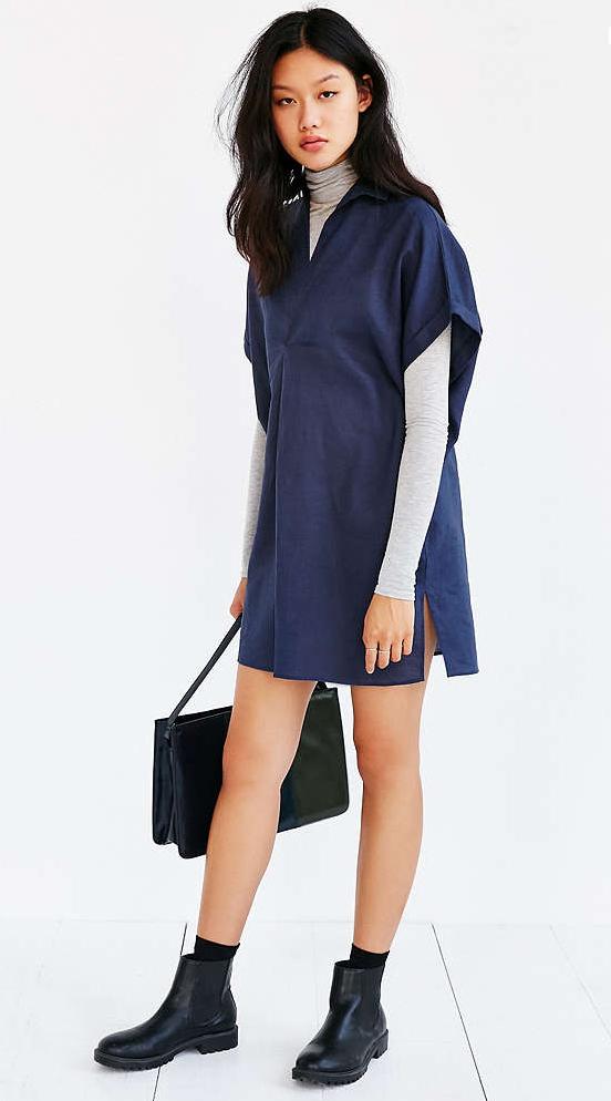 blue-navy-dress-grayl-tee-black-shoe-booties-socks-black-bag-shirt-wear-style-fashion-fall-winter-turtleneck-brunette-weekend.jpg