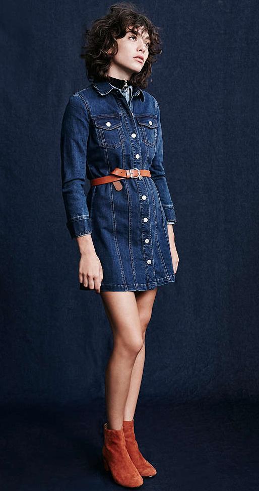 blue-navy-dress-cognac-shoe-booties-shirt-wear-style-fashion-fall-winter-chambray-belt-brunette-lunch.jpg