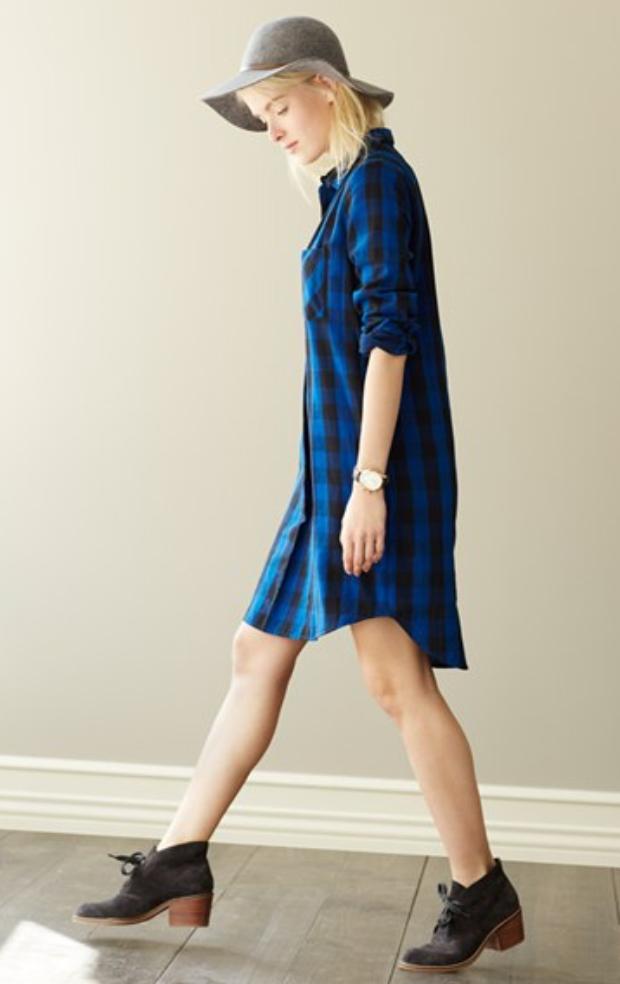 blue-navy-dress-zprint-plaid-black-shoe-booties-shirt-wear-style-fashion-fall-winter-hat-blonde-cobalt-weekend.jpg