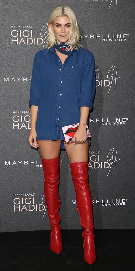 blue-navy-dress-shirt-blue-navy-scarf-neck-red-bag-clutch-red-shoe-boots-otk-blonde-spring-summer-dinner.jpg