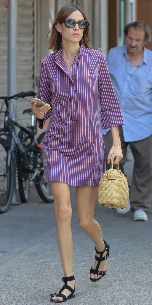purple-royal-dress-shirt-alexachung-vertical-stripe-sun-hairr-tan-bag-straw-black-shoe-sandals-spring-summer-weekend.jpg