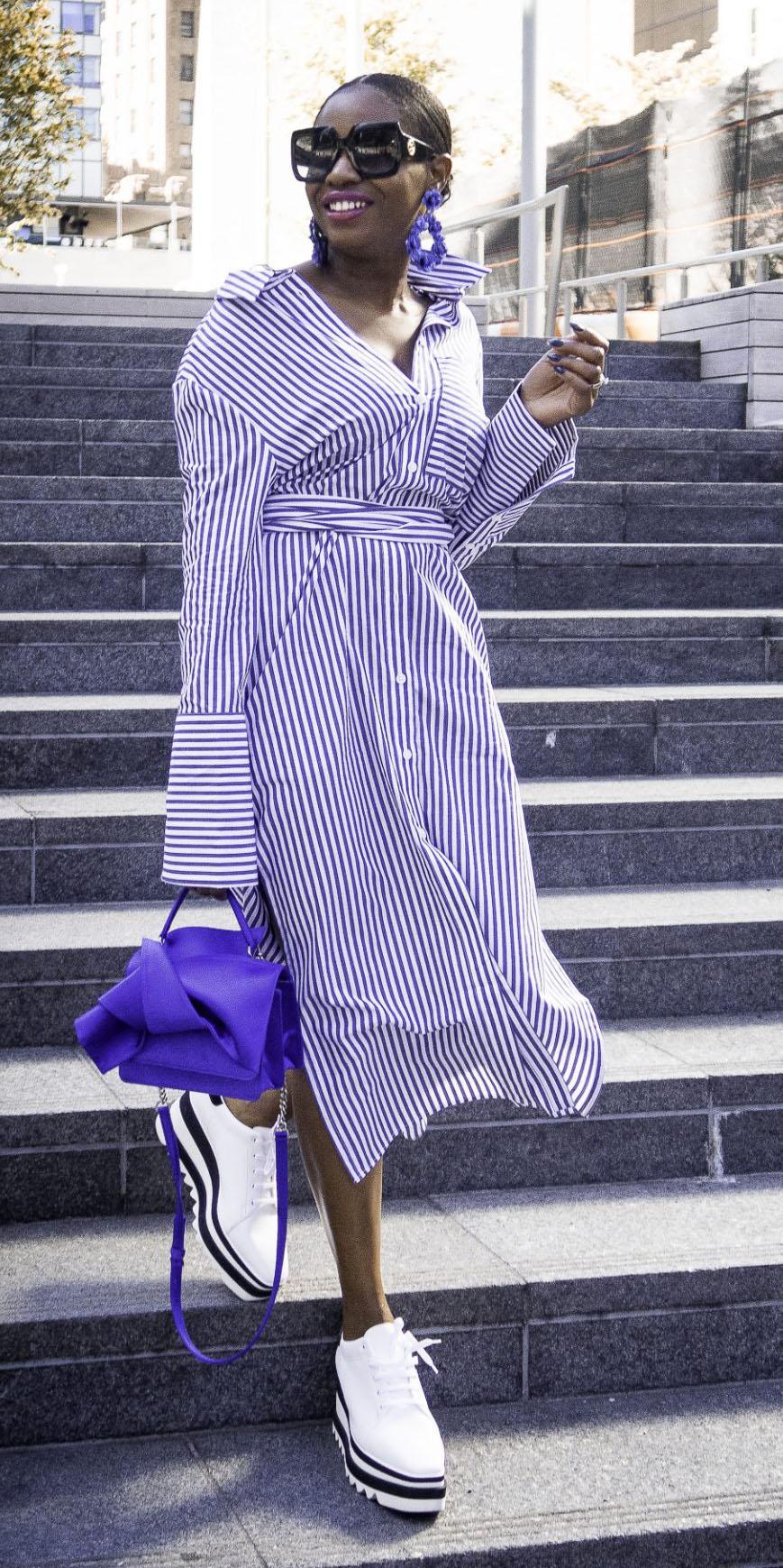 purple-royal-dress-shirt-midi-pinstripe-earrings-purple-bag-white-shoe-brogues-bun-brun-spring-summer-lunch.jpg