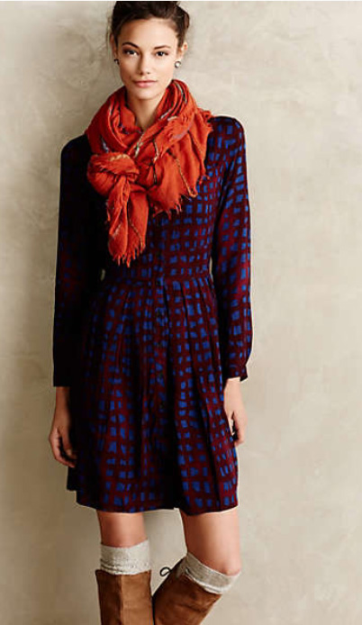purple-royal-dress-orange-scarf-cognac-shoe-boots-socks-bun-shirt-mini-style-fashion-fall-winter-lunch.jpg