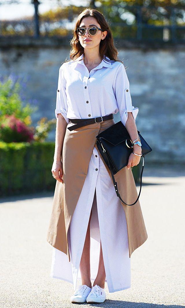 white-dress-shirt-layer-camel-midi-skirt-black-bag-sun-brun-white-shoe-sneakers-fall-winter-lunch.jpg
