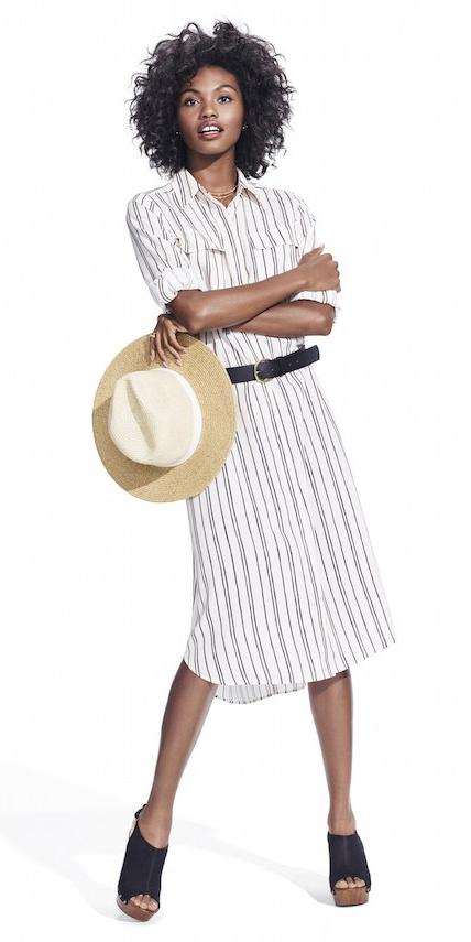 white-dress-zprint-stripe-black-shoe-sandalw-hat-shirt-pinstripe-belt-wear-style-fashion-spring-summer-brunette-lunch.jpg