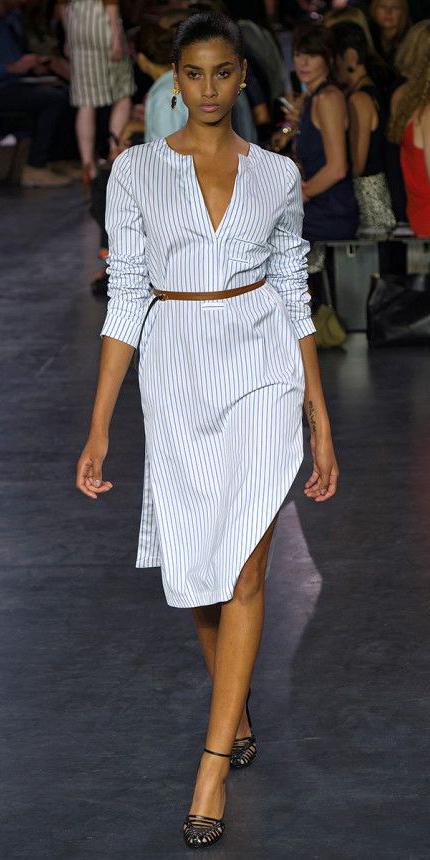 white-dress-zprint-stripe-black-shoe-sandalh-bun-earrings-shirt-wear-style-fashion-spring-summer-pinstripe-skinny-belt-brunette-work.jpg