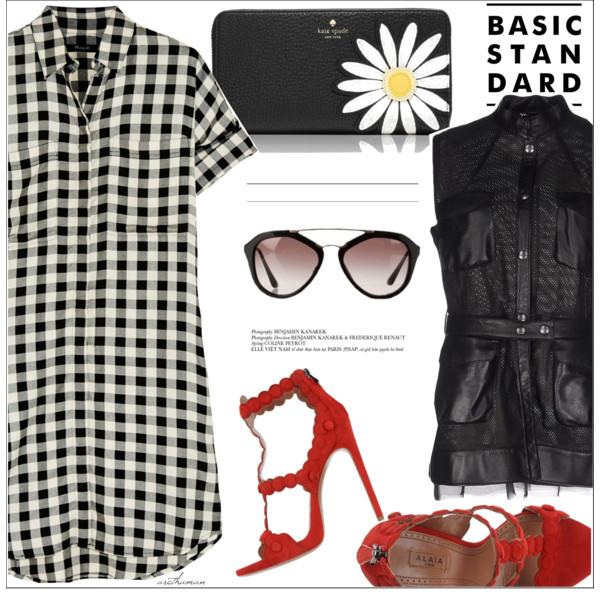 white-dress-shirt-gingham-red-shoe-sandalh-plaid-sun-black-bag-clutch-black-vest-utility-spring-summer-dinner.jpg