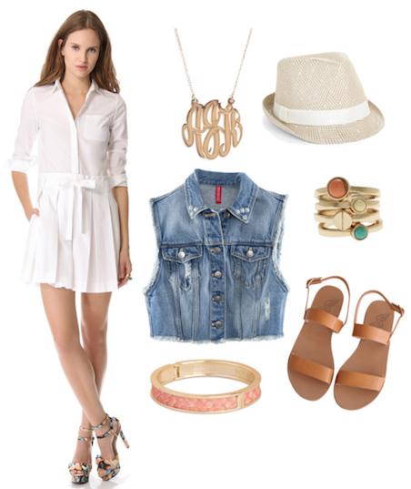 white-dress-blue-light-vest-jean-hat-ring-bracelet-tan-shoe-sandals-shirt-howtowear-fashion-style-outfit-spring-summer-weekend.jpg