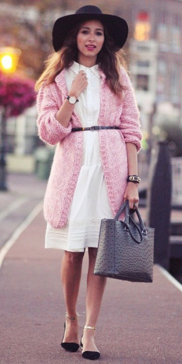 white-dress-shirt-pink-light-cardiganl-skinny-belt-hat-gray-bag-black-shoe-flats-watch-howtowear-fashion-style-outfit-fall-winter-hairr-lunch.jpg