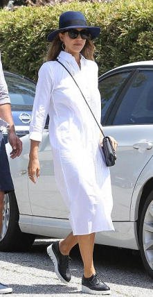 white-dress-black-shoe-loafers-black-bag-hat-shirt-midi-spring-summer-jessicaalba-platform-easter-sunday-brunette-lunch.jpg