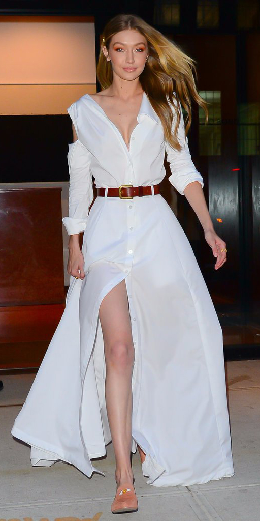 white-dress-shirt-maxi-belt-blonde-gigihadid-peach-shoe-loafers-spring-summer-dinner.jpg