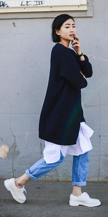 white-dress-shirt-layer-over-blue-navy-sweater-bob-brun-white-shoe-brogues-jeans-fall-winter-weekend.jpg