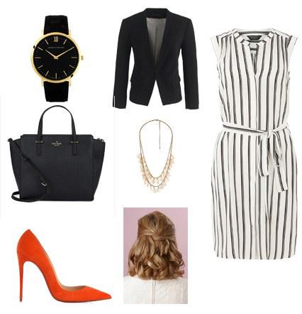 white-dress-shirt-vertical-stripe-black-jacket-blazer-orange-shoe-pumps-blonde-black-bag-watch-bib-necklace-spring-summer-work.jpg