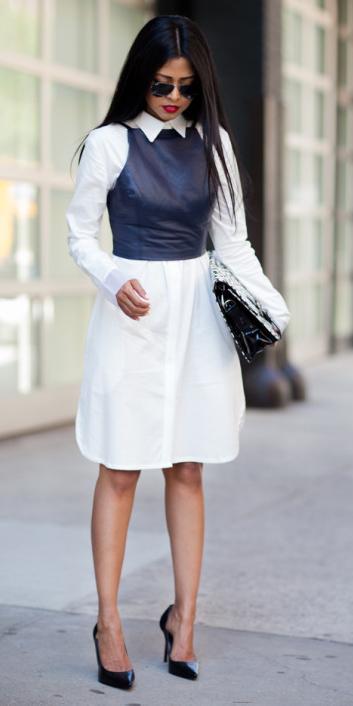 white-dress-black-top-shell-black-shoe-pumps-sun-layer-shirt-wear-style-fashion-spring-summer-leather-brunette-work.jpg