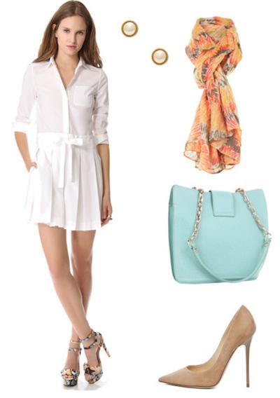 white-dress-orange-scarf-print-studs-blue-bag-shirt-tan-shoe-pumps-howtowear-fashion-style-outfit-spring-summer-lunch.jpg