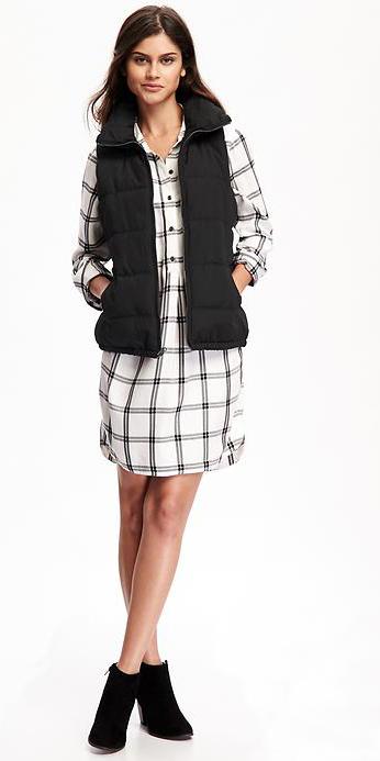 white-dress-zprint-plaid-black-vest-puffer-black-shoe-booties-shirt-wear-style-fashion-fall-winter-brunette-weekend.jpg