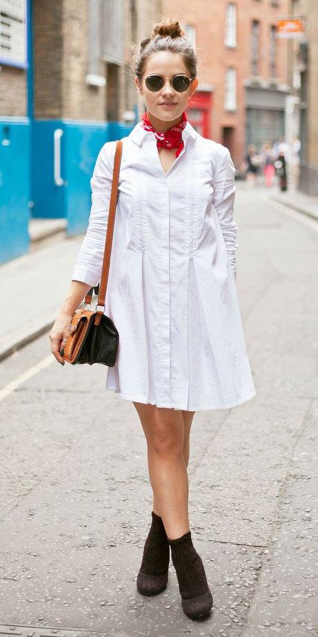 white-dress-shirt-red-scarf-neck-bandana-brown-shoe-booties-hairr-bun-sun-cognac-bag-spring-summer-lunch.jpg