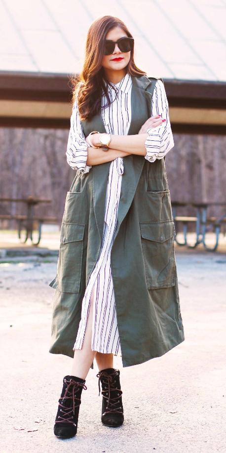 white-dress-shirt-vertical-stripe-sun-brun-green-olive-vest-utility-trench-layer-black-shoe-booties-fall-winter-work.jpg