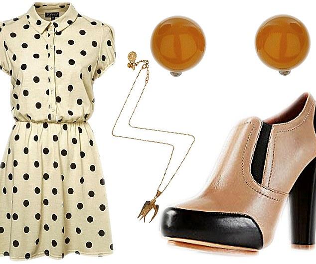 white-dress-shirt-dot-print-tan-shoe-booties-studs-necklace-pend-spring-summer-lunch.jpg