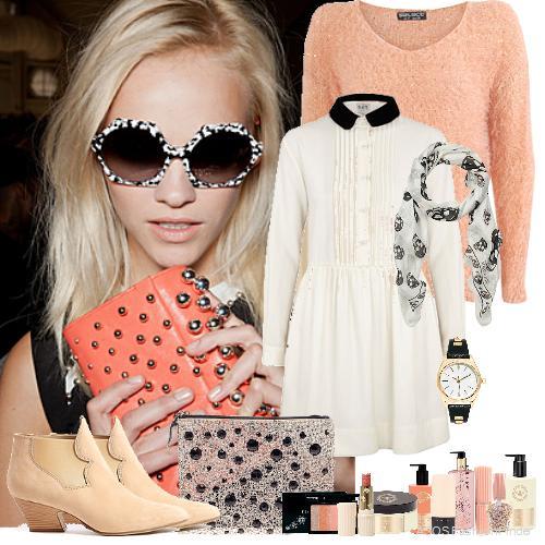 white-dress-o-peach-sweater-shirt-peach-bag-sun-white-scarf-print-tan-shoe-booties-watch-howtowear-fashion-style-outfit-spring-summer-blonde-lunch.jpg