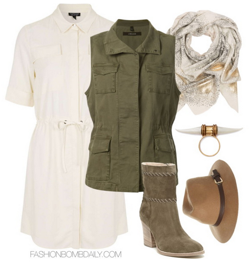 white-dress-green-olive-vest-trench-tan-shoe-booties-hat-white-scarf-shirt-wear-style-fashion-fall-winter-cargo-weekend.jpg