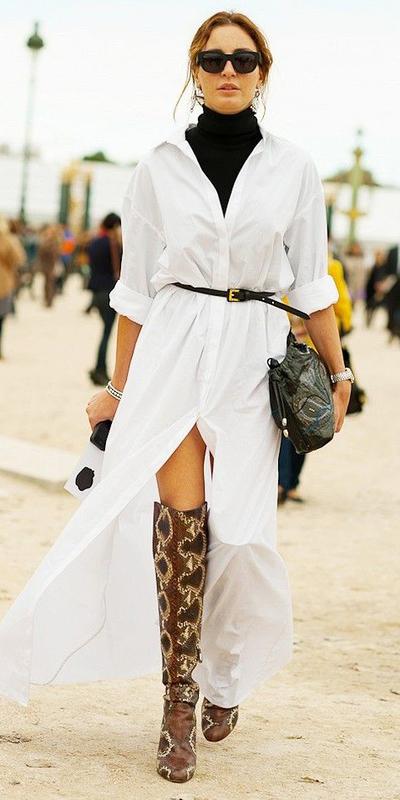 white-dress-shirt-maxi-skinny-belt-sun-black-sweater-turtleneck-layer-brown-shoe-boots-snakeskin-hairr-fall-winter-dinner.jpg