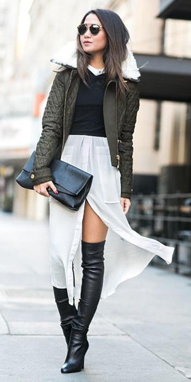 white-dress-shirt-layer-black-sweater-sun-brun-green-olive-jacket-coat-puffer-black-shoe-boots-otk-black-bag-clutch-fall-winter-lunch.jpg