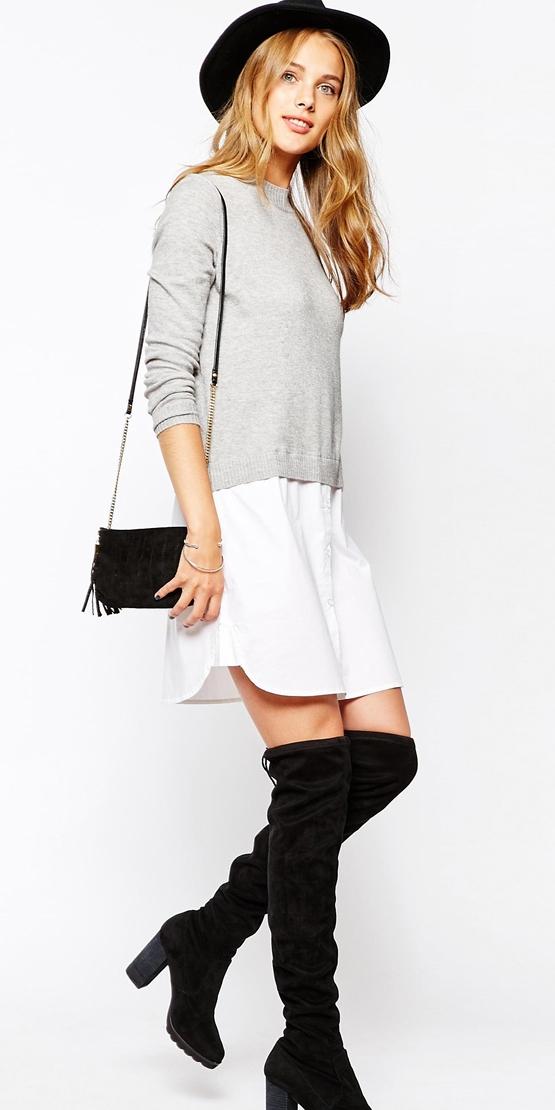 white-dress-shirt-grayl-sweater-hat-blonde-black-bag-black-shoe-boots-otk-layer-fall-winter-lunch.jpeg