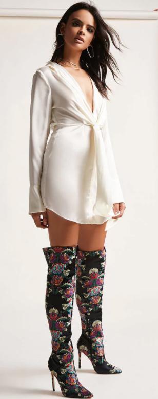 white-dress-mini-shirt-hoops-black-shoe-boots-overtheknee-floral-print-howtowear-fall-winter-brun-dinner.jpg