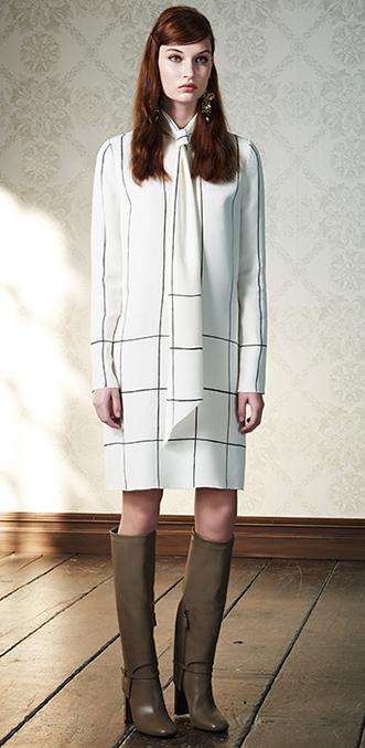 white-dress-zprint-windowpane-tan-shoe-boots-clip-earrings-shirt-wear-style-fashion-fall-winter-tie-hairr-work.jpg
