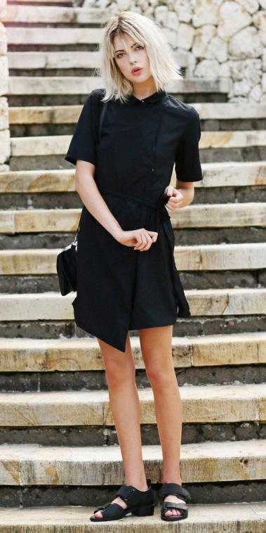 black-dress-shirt-black-bag-black-shoe-sandals-mono-spring-summer-blonde-weekend.jpg