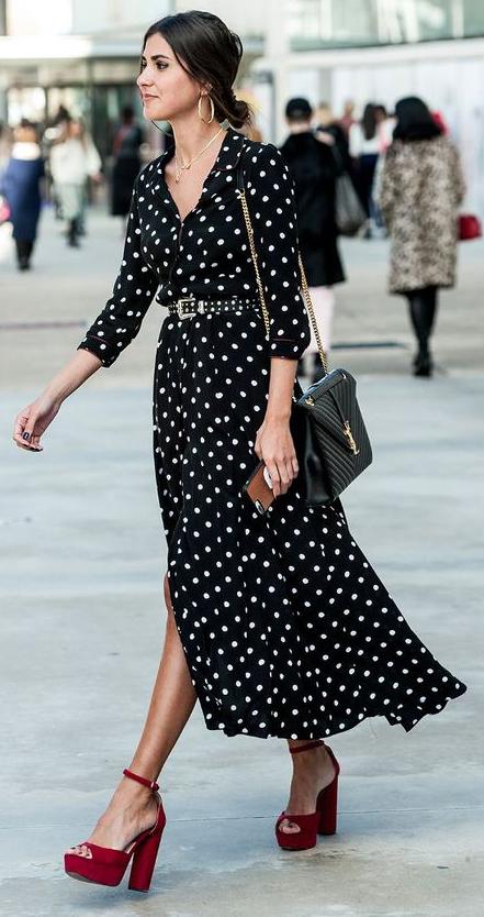 black-dress-shirt-belt-bun-hoops-black-bag-red-shoe-sandalh-midi-dot-print-brun-spring-summer-brun-dinner.jpg