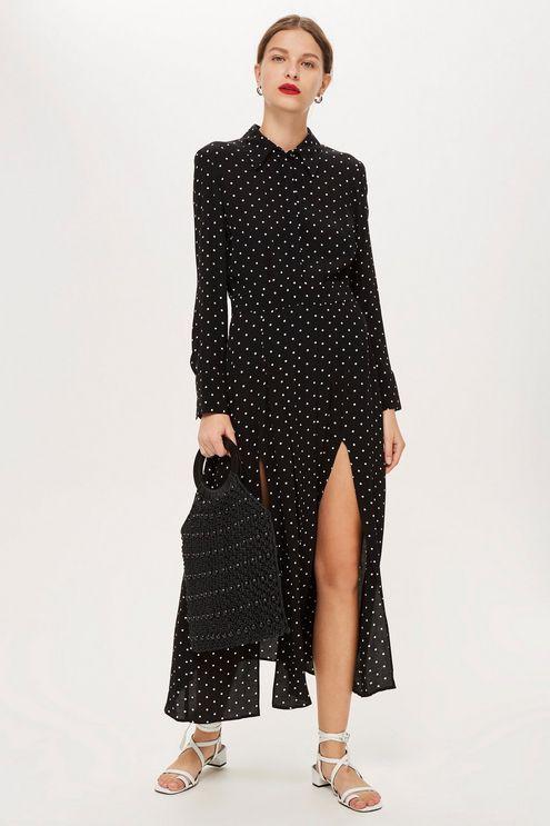 black-dress-shirt-polkadot-print-black-bag-hairr-earrings-white-shoe-sandals-spring-summer-lunch.jpg