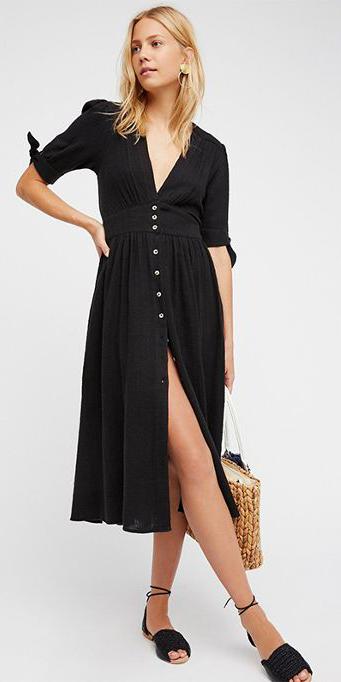 black-dress-shirt-midi-black-shoe-sandals-tan-bag-straw-blonde-spring-summer-weekend.jpg