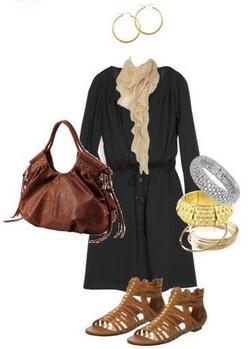 black-dress-tan-scarf-cognac-shoe-sandals-shirt-cognac-bag-bracelet-hoops-howtowear-fashion-style-outfit-spring-summer-weekend.jpg