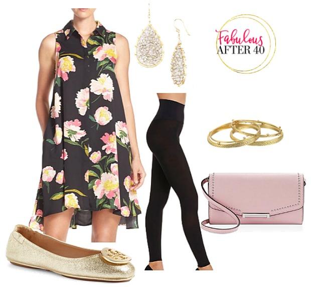 black-dress-shirt-layer-black-leggings-floral-print-pink-bag-bracelet-earrings-tan-shoe-flats-gold-spring-summer-lunch.jpg