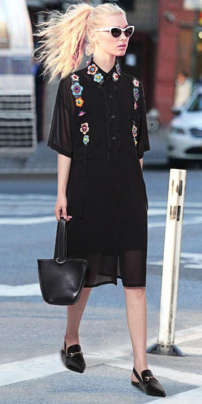 black-dress-shirt-sun-pony-black-shoe-loafers-mono-black-bag-blonde-spring-summer-work.jpg