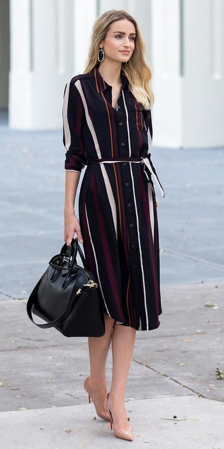 black-dress-shirt-vertical-stripe-black-bag-tan-shoe-pumps-earrings-spring-summer-blonde-work.jpg