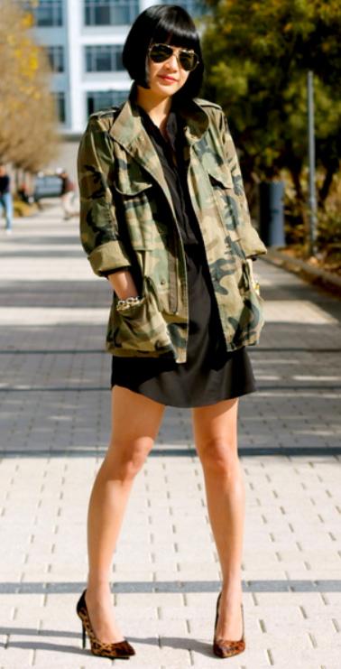 black-dress-shirt-green-olive-jacket-utility-camo-print-brun-bob-sun-cognac-shoe-pumps-fall-winter-lunch.jpg