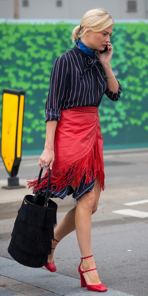 blue-navy-dress-shirt-vertical-stripe-layer-blue-med-scarf-neck-black-bag-red-shoe-pumps-blonde-pony-fall-winter-lunch.jpg
