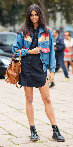black-dress-blue-med-jacket-bomber-denim-cognac-bag-black-shoe-booties-shirt-wear-style-fashion-fall-winter-print-chambray-brunette-lunch.jpg