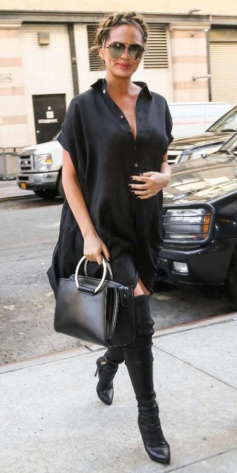 black-dress-black-shoe-boots-black-bag-hand-sun-braid-shirt-wear-style-fashion-fall-winter-chrissytiegen-celebrity-street-brunette-lunch.jpg