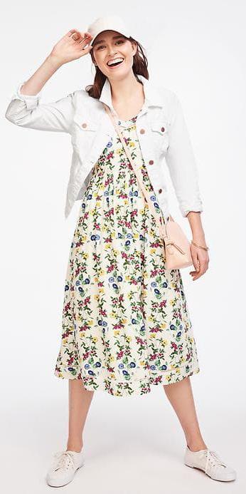 yellow-dress-midi-tank-print-floral-pink-bag-hairr-hat-cap-white-jacket-jean-white-shoe-sneakers-spring-summer-weekend.jpg