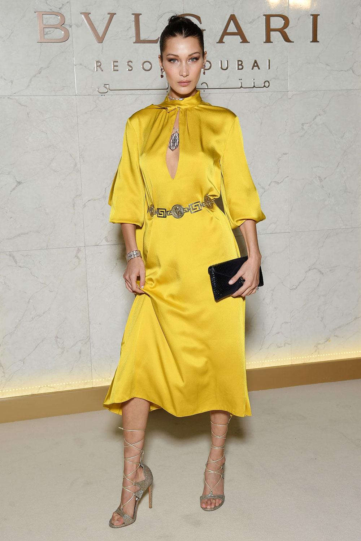 yellow-dress-peasant-silk-belt-gray-shoe-sandalh-gladiators-necklace-midi-bellahadid-spring-summer-dinner.jpg