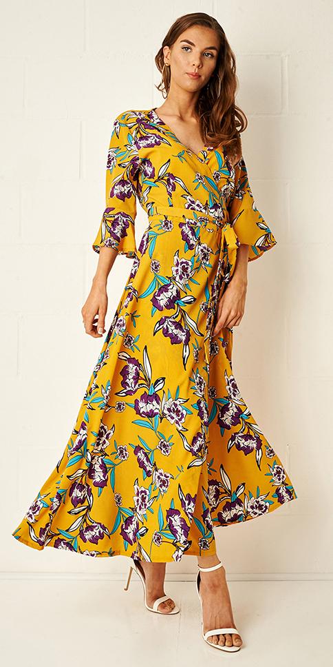 yellow-dress-midi-wrap-floral-print-hairr-white-shoe-sandalh-spring-summer-dinner.jpg