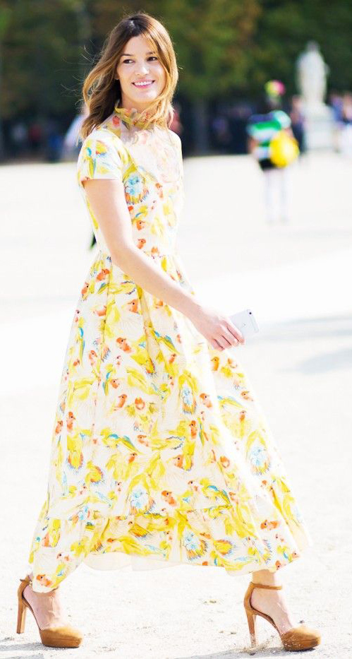 what-to-wear-for-a-summer-wedding-guest-outfit-yellow-dress-midi-print-hairr-cognac-shoe-pumps-dinner.jpg
